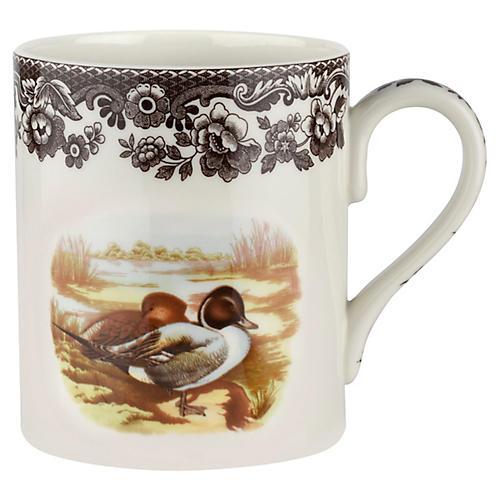 S/4 Pintail Mugs, White/Brown
