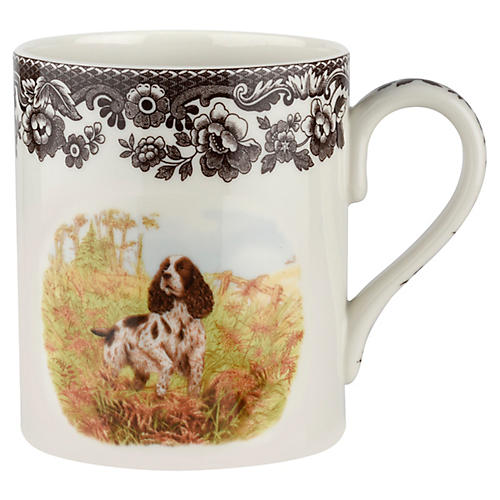 S/4 English Springer Spaniel Mugs, White/Brown