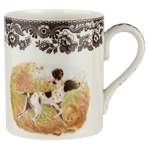 S/4 Pointer Mugs, White/Brown