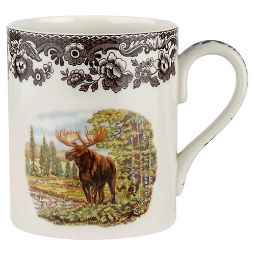 S/4 Moose Mugs, White/Brown