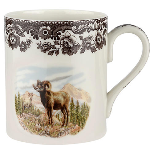 S/4 Bighorn Sheep Mugs, White/Brown