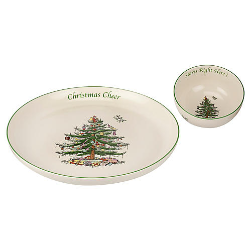 Asst. of 2 Christmas Tree Chip & Dip Bowls, White