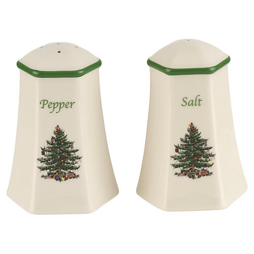 Christmas Tree Salt & Pepper Set, White/Green