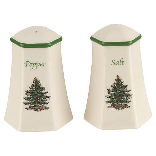 Christmas Tree Salt & Pepper Set, White/Green