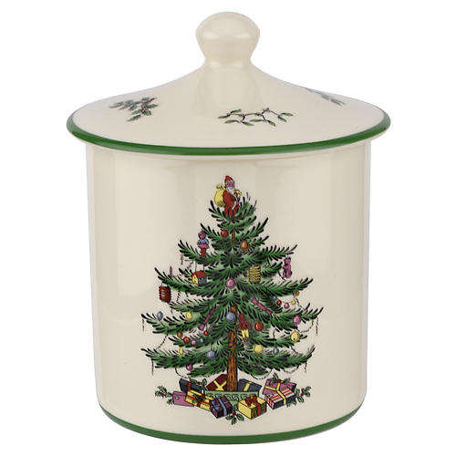 Christmas Tree Canister, White/Green