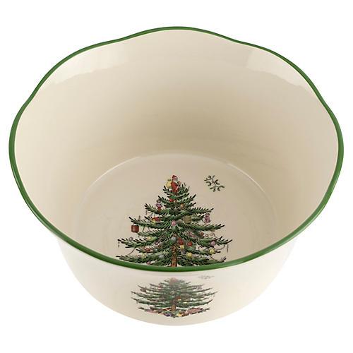 Christmas Tree Scalloped Bowl, White/Green