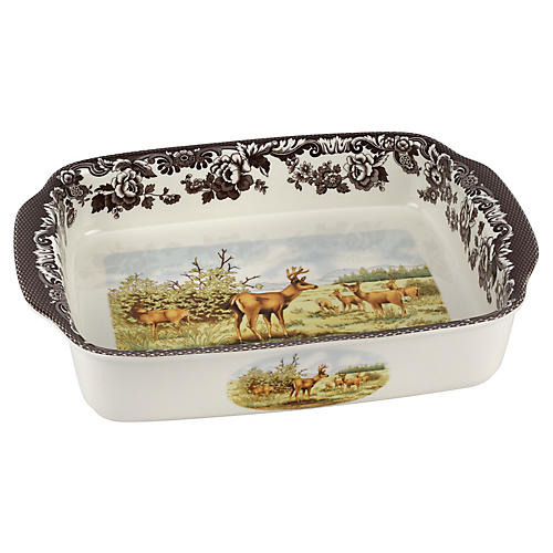 Deer Dish Lasagne Dish, White/Brown