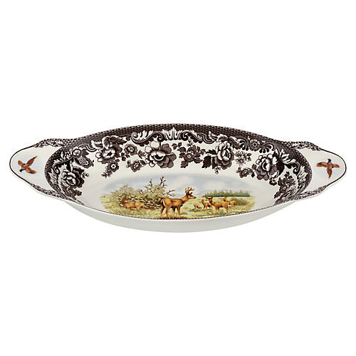 Deer Bread Tray, White/Brown
