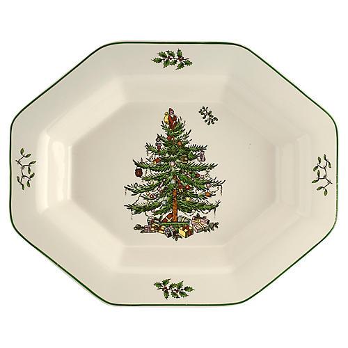 Christmas Tree Octagonal Server, Green/White