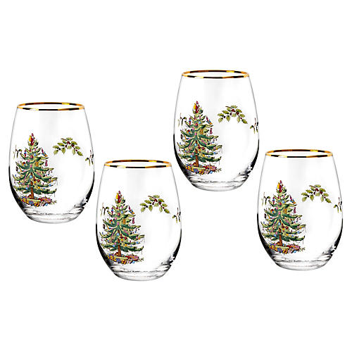 S/4 Christmas Tree Wineglasses, Clear/Green