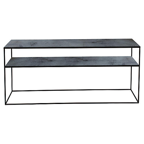 Notre Monde Sofa Console, Charcoal/Black