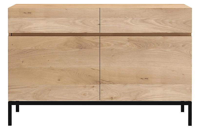 Ligna 2-Drawer Sideboard, Oak/Black