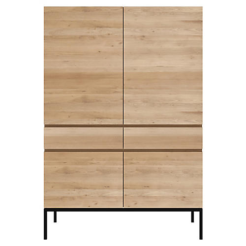 Ligna Storage Cabinet, Oak/Black