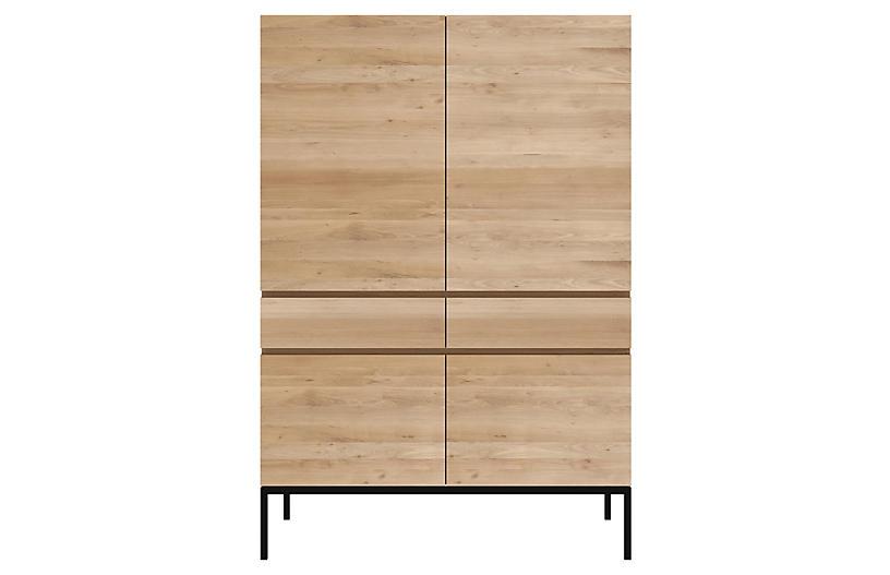 Ligna Storage Cabinet, Oak/Black