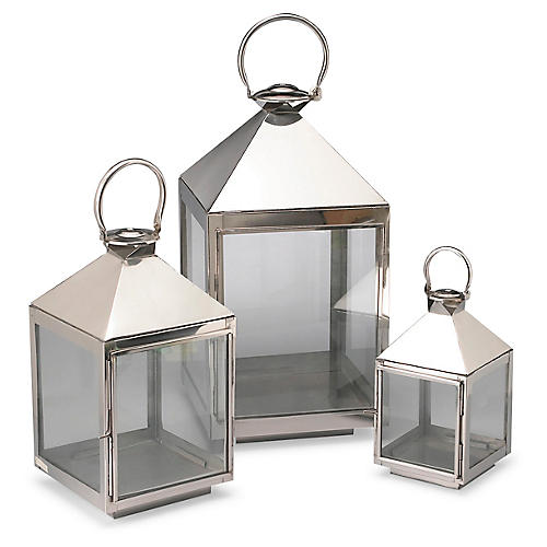 Asst. of 3 Siesta Lanterns, Polished Aluminum