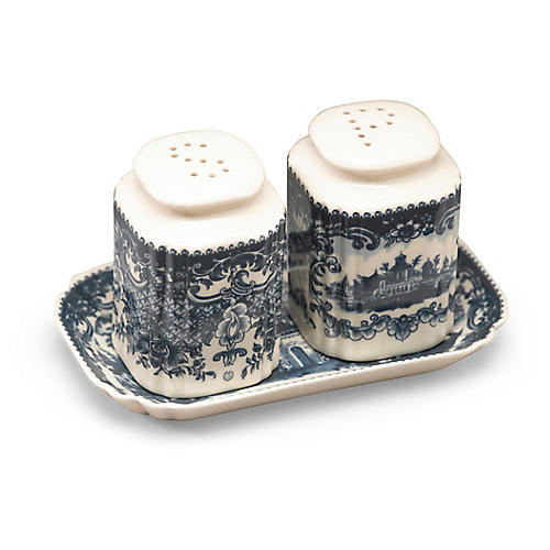 Asst. of 3 Iddo S&P Shakers w/Tray, Blue/Ivory