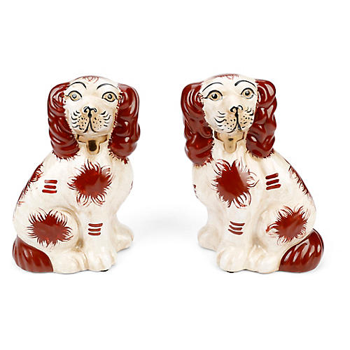 S/2 Staffordshire-Style Dogs, Brown