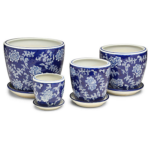 Asst. of 4 Kew Cachepots, Blue/White