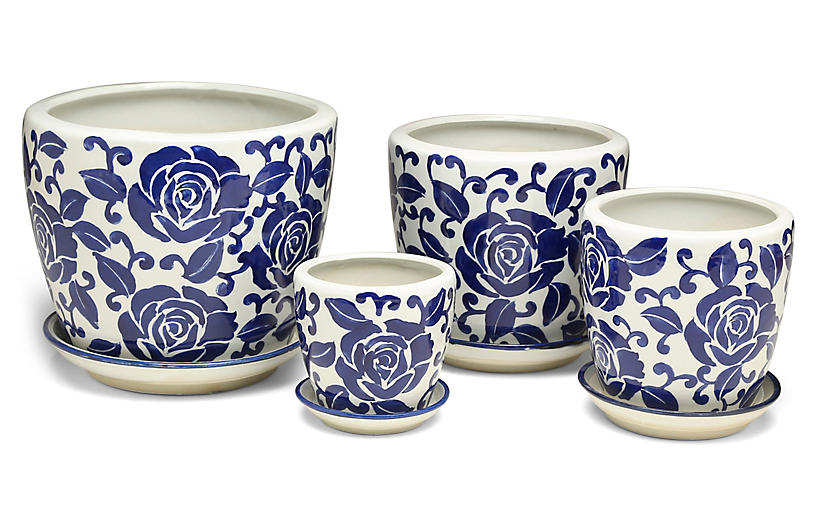 Asst. of 4 Giverny Cachepots, Blue/White
