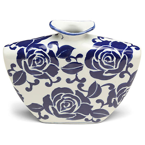 "10"" Giverny Narrow Vase, Blue/White"