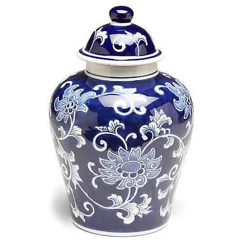 """11"""" Lisse Classic Ginger Jar, Blue/White"""