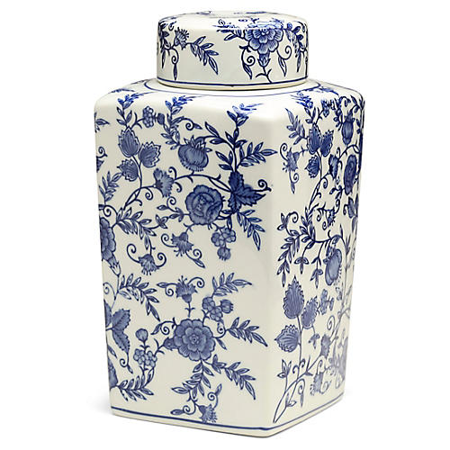 "12"" Arundel Square Ginger Jar, Blue/White"
