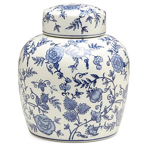 """10"""" Arundel Round Ginger Jar, Blue/White"""