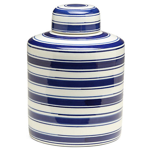 "9"" Soroa Cylindrical Ginger Jar, Blue/White"