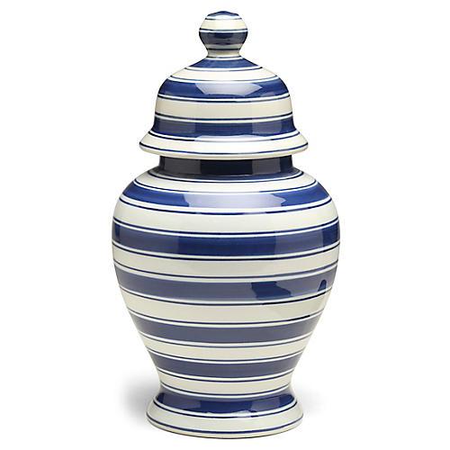 "15"" Soroa Tall Classic Ginger Jar, Blue/White"