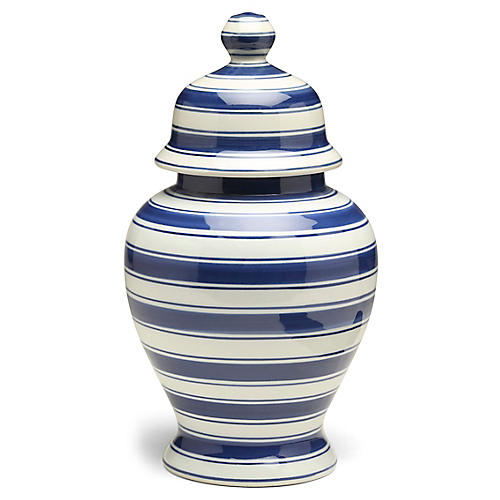 "15"" Soroa Tall Classic Ginger Jar, Blue/White"