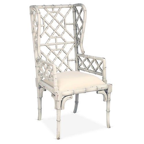 Chinoiserie Wingback Chair, Distressed Ivory
