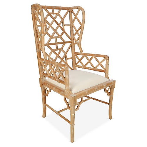 Chinoiserie Wingback Chair, Distressed Natural