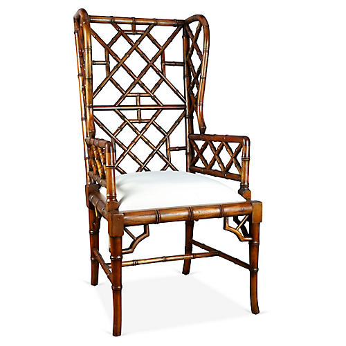 Chinoiserie Wingback Chair, Distressed Walnut