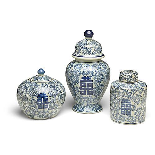 S/3 Bella A Jar Set, Blue/White