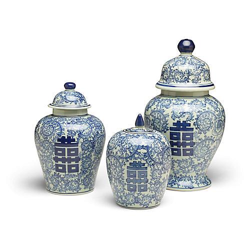 S/3 Bella B Jar Set, Blue/White