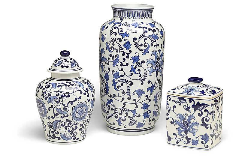 S/3 Clint B Jar Set, Blue/White