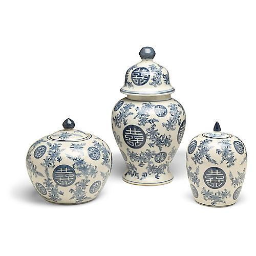 S/3 Booker A Jar Set, Blue/White