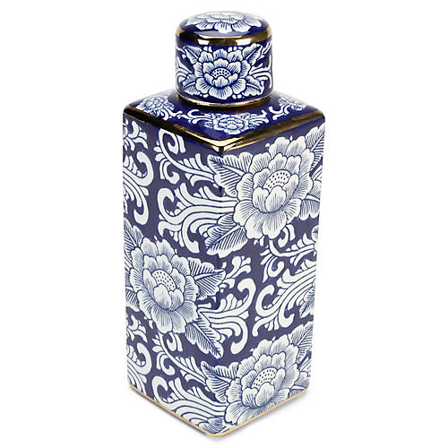 "13"" Granada Square Jar w/ Lid, Blue/White"
