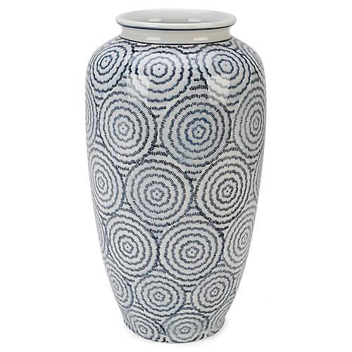 """15"""" Vigo Vase, Blue/White"""