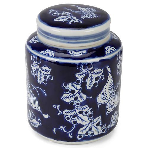"""6"""" Wheeler Butterfly Jar w/ Lid, Blue/White"""