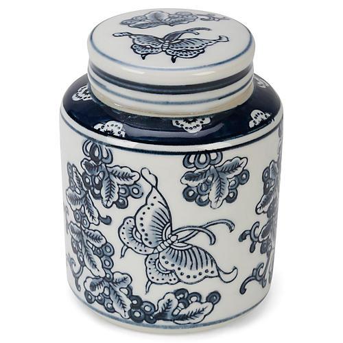 """6"""" Wheeler Butterfly Jar w/ Lid, White/Blue"""