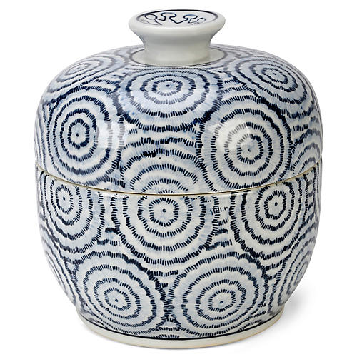 "8"" Vigo Jar w/ Lid, Blue/White"