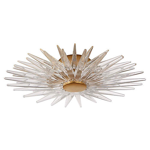 Quincy Semi-Flush Mount, Burnished Brass