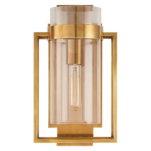 Presidio Caged Sconce, Antiqued Brass