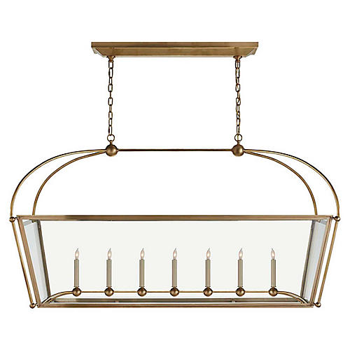 Plantation Linear Chandelier, Burnished Brass