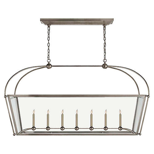 Plantation Linear Chandelier, Antiqued Nickel