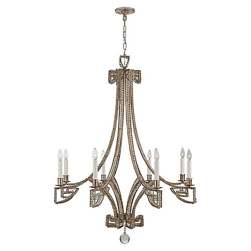 Gallina Chandelier, Silver Leaf