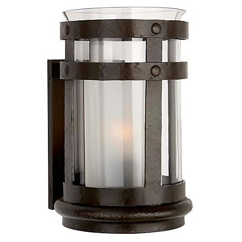 Corbett Smoke Bell Sconce, Aged Iron