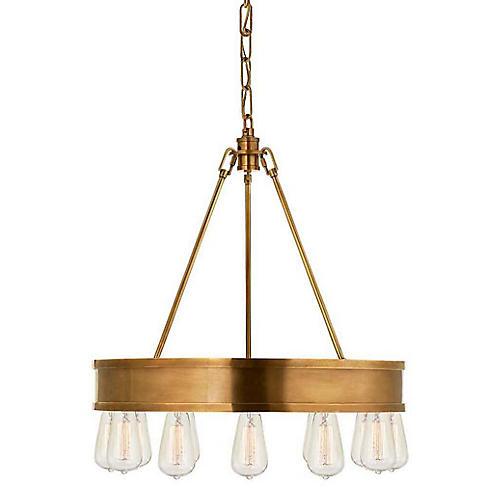 Roark 12-Light Chandelier, Natural Brass