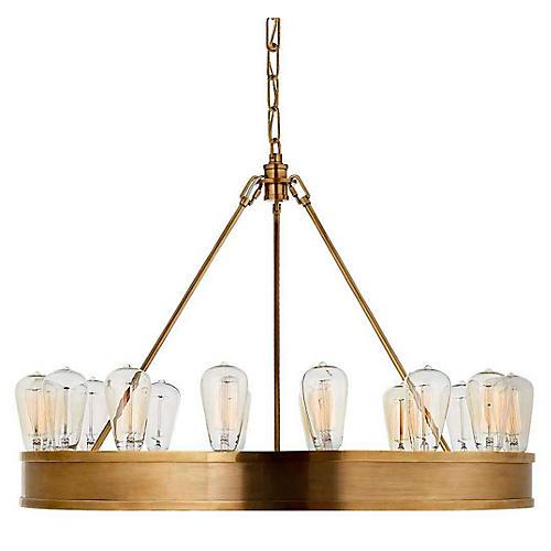 Roark 16-Light Chandelier, Natural Brass